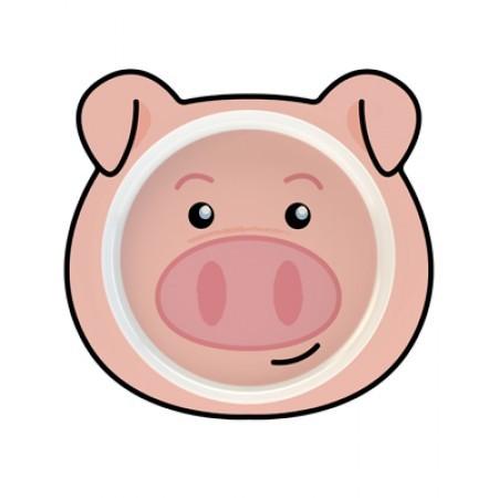 Teller mit Schweinchen als Motiv