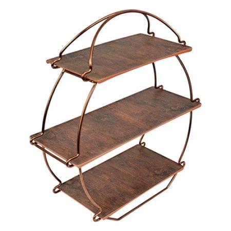 Tee Ständer Schwarz Set Kupfer/Rustikales-Holz