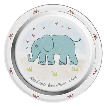 Teller mit Elefant als Motiv