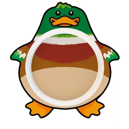Teller mit Ente als Motiv