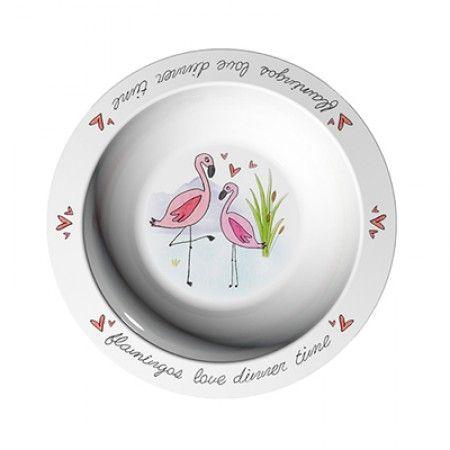 Suppenteller mit Flamingo als Motiv