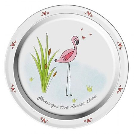 Teller mit Flamingo als Motiv