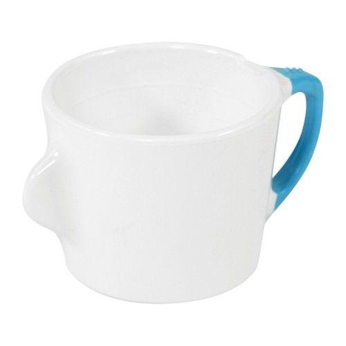 Omni, Teetasse mit Trinkhilfe, 200 ml, Weiß mit blauem Rand
